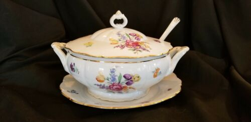 Fine Bohemian China Czechoslovakia Soup Tureen European Garden Under-plate Ladle