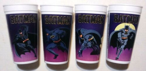 Batman (Movie) Taco Bell / Pepsi Collectors Cups Complete Set Of 4 Vintage 1989