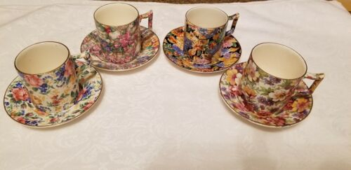 4 Vintage CHINTZ Demitasse Cups & Saucers JAMES KENT - Made In England