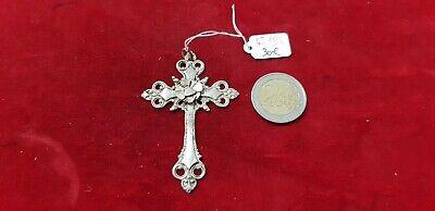 Pendant Religious Cross Jesus Christ Antique Solid Silver - REF45182