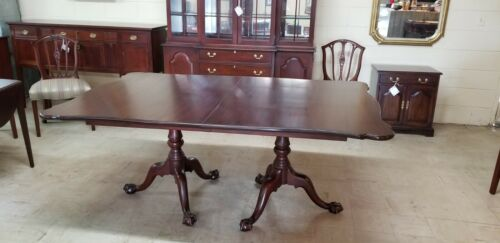HENKEL HARRIS SCALLOPED TWO PEDESTAL TABLE BALL AND CLAW