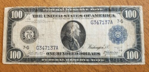1914 $100 Federal Reserve Note 7-G Chicago