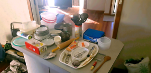 Kitchen stuff, all for $10 electric can opener new, plates, etc