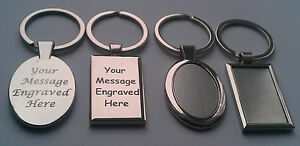 Personalised-Silver-Oval-Rectangle-Shaped-Keyring-Engraved-Gift-Key-Ring