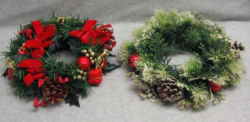 Christmas Candle Ring Plastic Artificial Pine Candle Ring Centerpieces Lot of 2