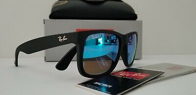 Ray-Ban Justin Classic RB4165 622/55 54mm Wayfarer Matte Black Blue Mirror (Ray Ban New Wayfarer Sunglasses)
