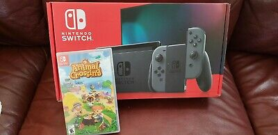 Nintendo Switch Console v2 with Gray Joy-con + Animal Crossing