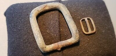 Nice little and large 1800 hundreds copper alloy buckles found in England. L75u