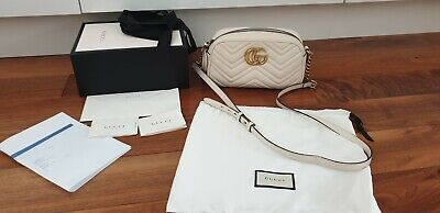 GUCCI GG Marmont Matelassé Shoulder Bag, Cream-Off White WITH RECEIPT