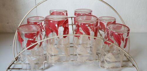 Swanky Swigs RARE set 8 Red White ANTHURIUM floral Glasses Metal Rack c1940 1950