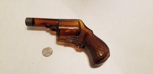 Rare Foust Distillery Antique Amber Glass Revolver Gun Derringer Whiskey Bottle