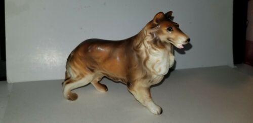 "Vintage COLLIE Dog Figurine Bone China Lassie MADE Japan 4"" Tall Mid Century"