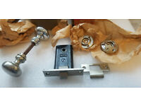 VTG Antique NOS Door Lock Latch Russwin Nickel Chrome Set Woburn Mortise