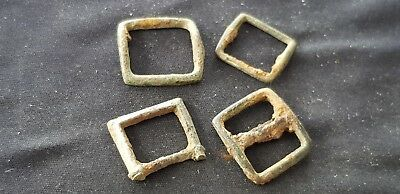 Superb lot of four Tudor copper alloy buckles, Please read description. L106g