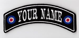 YOUR NAME MOD TARGET SMALL CUSTOM PERSONALISED TOP ROCKER PATCH SCOOTER SEW ON