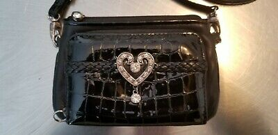 BRIGHTON Small Black Leather Cross body Wallet Purse With Swarovski  Crystals