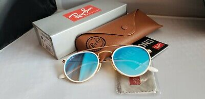 Ray-Ban DOUBLE BRIDGE 3647N 001/40 4O Gold White/Blue Shaded Mirror (White Rayban Sunglasses)