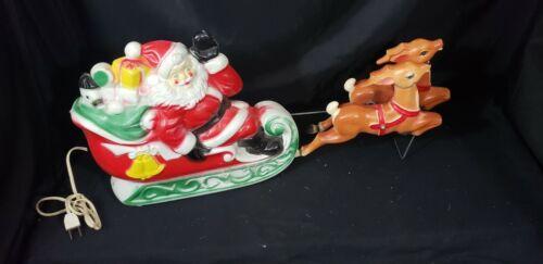 Empire vintage plastic Santa sleigh and reindeer Blow Mold-1970  RARE!!