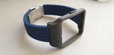 Sony SmartWatch 3 SWR50 Black Galaxy Adapter Blue Silicone Strap with Clasp