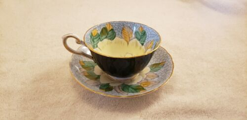 Tuscan Fine Bone China England Teacup & Saucer Black and Gold WITH Floral