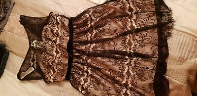 Lubby G black nude lace sexy baby doll velvet waist bow deep back lined size 10 - Black Velvet Baby Doll