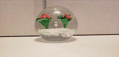 Mid Century Murano? Art Glass Ladybug on leaf Paperweight