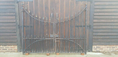 Pair of Old Wrought Iron Vintage Driveway Gates