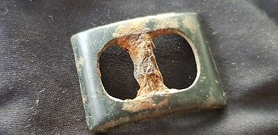 Superb Post Medieval rare type bronze buckle, please read description. L99p