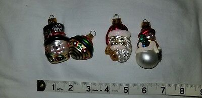 4 Christmas Ornaments Blown Glass small snowman top Santa lot delicate](Small Glass Halloween Ornaments)
