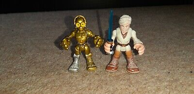 Star Wars Galactic Heroes Playskool Imaginext Old Ben and C3P0 sandy Rare Figure