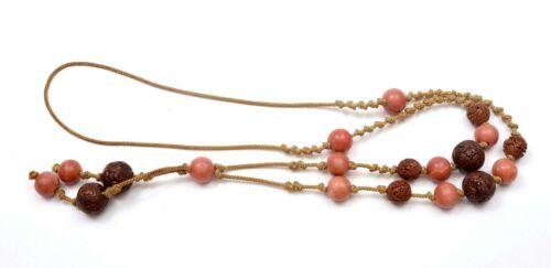 Old Chinese Peking Glass Ceramic Ojime Netsuke Seed Pit Nut Hediao Bead Necklace