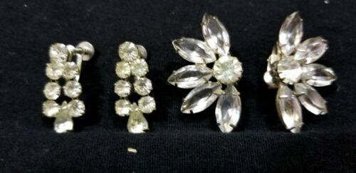 TWO EUC Fabulous Clip Earrings ART DECO Dangle SILVERTONE Flower Star Burst A3