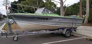 5mtr Quintrex Aluminium fishing boat 2000 model 90hp low hours