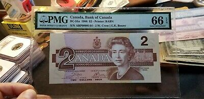BC-55a $2 1986 Bank of Canada Bank Note Crow/Bouey PMG 66 EPQ