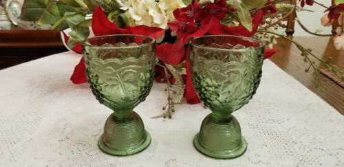 Sage Green L.E. Smith Glass USA Pressed Glass Juice Egg Cup Reversible Set of 2