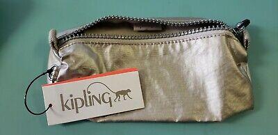 KIPLING NWT Glam Cosmetics Case Pencil Metallic Silver Zipper NEW MSRP $32.00