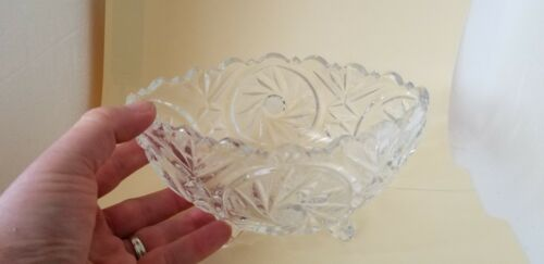 Vintage Lead Crystal Oval Candy Dish Footed - 24% Lead Hand Cut Saw Tooth Edge