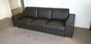 Leather 3 seater lounge