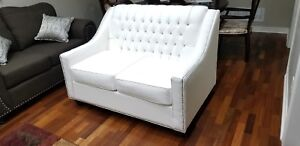 Brand New White Leather love seat