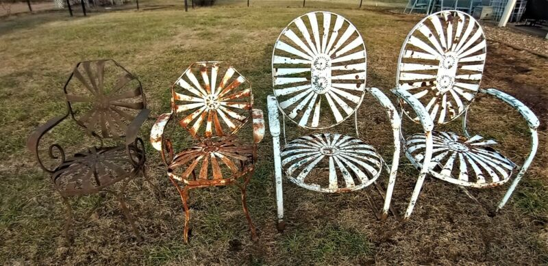Antique Francois Carre Sunburst Pinwheel Garden Patio Chairs 2 large 2 small
