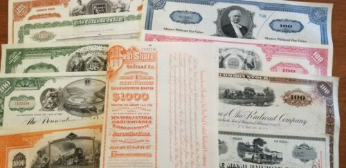 10 Different Railroad Stock Certificates Reading Pennsylvania B&O Erie Lot