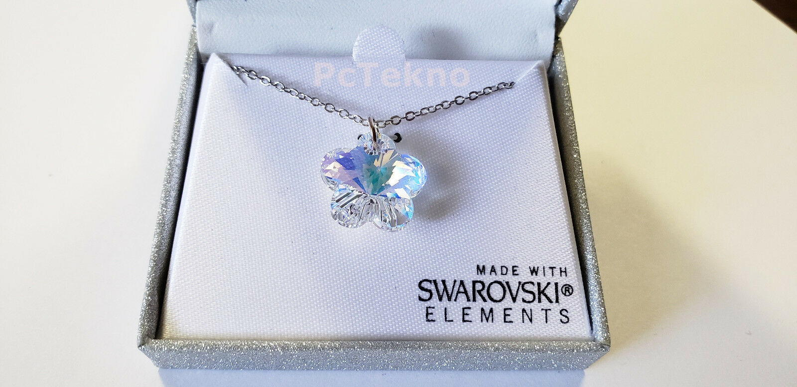 Aurora Borealis Flower Pendant Necklace w Swarovski Elements