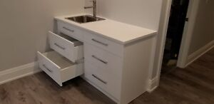 White Lacquer Countertop and Sink - Brand New