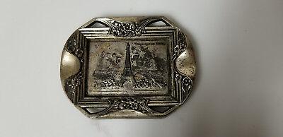Vintage Souvenir Paris Eiffel Tower Plate dish coin tray silver plate? cigarette