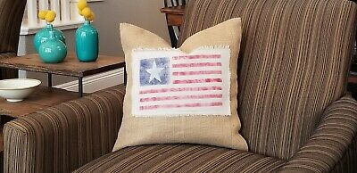 Burlap Throw Pillow Cover - American Flag 17