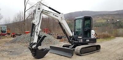 2014 Bobcat E55 Excavator Cab Heat Ac Angle Blade Hydraulic Thumb Very Nice