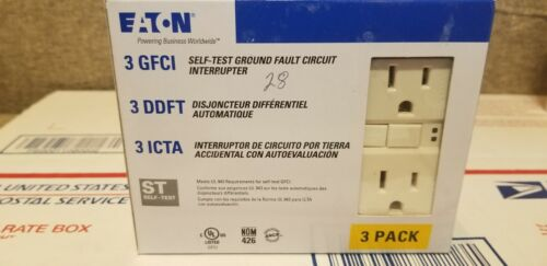 3-Pack Eaton Light Almond 15-Amp Decorator GFCI Residential Outlet