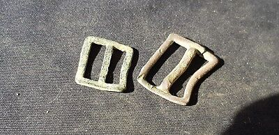 Nice Tudor tiny copper alloy buckle lot, please read description. L94