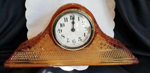 ANTIQUE MCKEE AMBER GLASS MANTLE CLOCK, DAISY & BUTTON PATTERN ca 1920