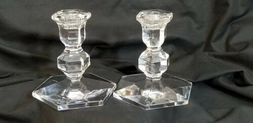 """VINTAGE VAL ST LAMBERT CRYSTAL CANDLE HOLDERS """"GARDENIA"""" SIGNED (2)  5""""h"""